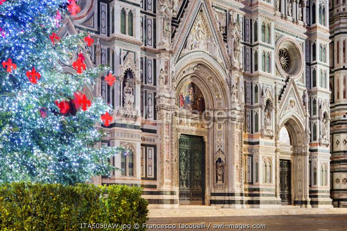 Italy, Italia. Tuscany, Toscana. Firenze district. Florence, Firenze. Piazza Duomo, Duomo Santa Maria del Fiore and Christams Tree.