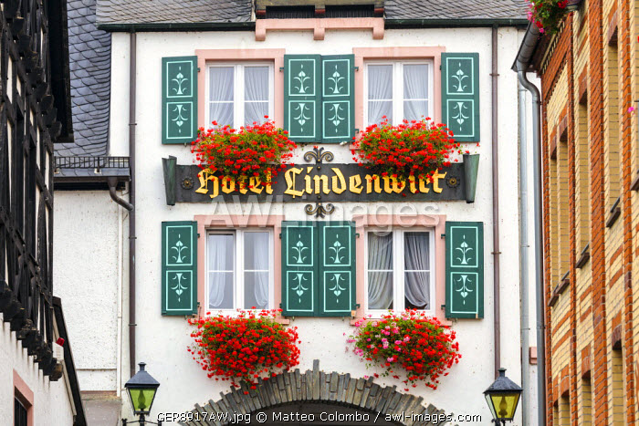 Detail of facade of typical building, Rudesheim, Rhine valley, Hesse, Germany