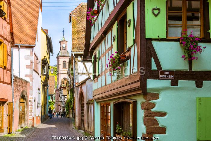 Street view of alsatian town, Riquewihr, Alsace, France
