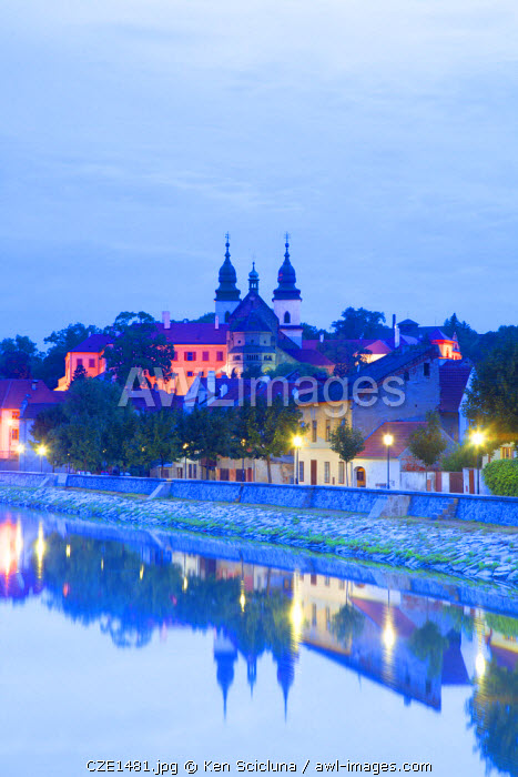 Czech Republic, Moravia, Trebic. The Jewish Quarter and the cathedral in the background. Unesco.