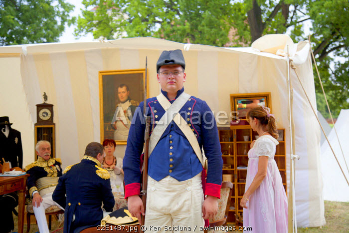 Czech Republic, Moravia, Slavkov u Brna. Historic re enactement of the Battle of Austerlitz which happened in the region now part of Czech Republic with a guard outside Napoleon s tent and General Berthier beside him.
