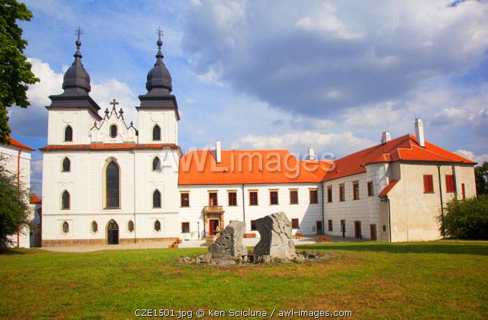 Czech Republic, Moravia, Trebic. Facade of the St Procopius Basilica and grounds. Unesco