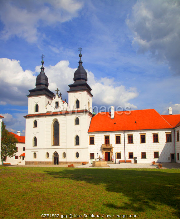 Czech Republic, Moravia, Trebic. Facade of the St Procopius Basilica and grounds. Unesco