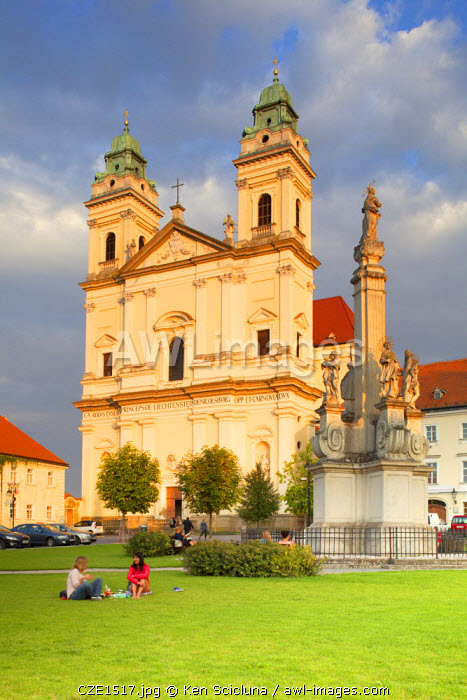 Czech Republic, Moravia, Valtice. The Cathedral.