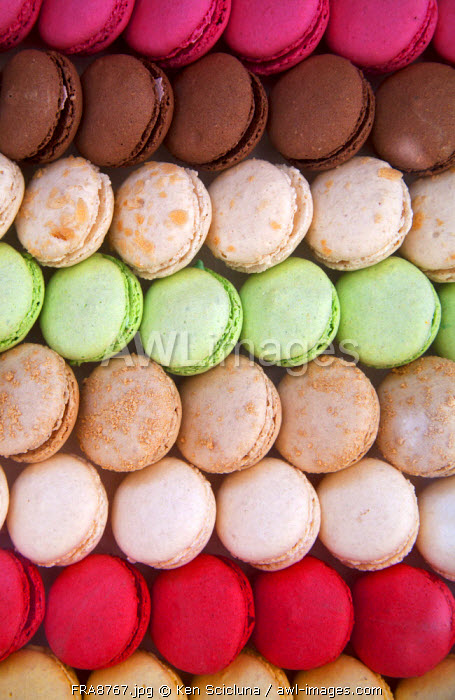 France, Normandy, Rouen. Colourful macarons, one of the delicacies of the region.