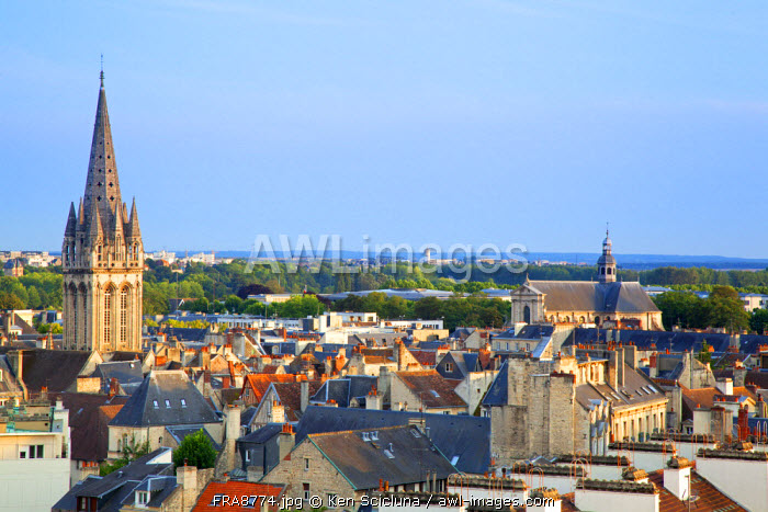 France, Normandy, Caen. Overview of the historic centre.