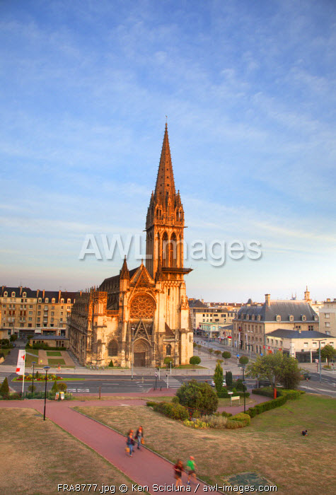 France, Normandy, Caen. The Church of Saint Pierre dominant in the city.