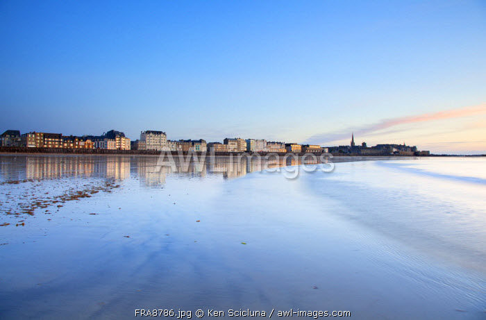 France, Brittany, Saint Malo. The old and new town from the sea.