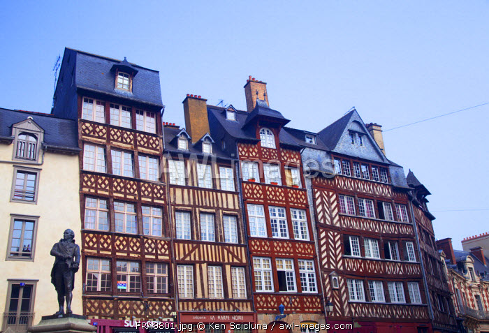 France, Brittany, Rennes. Typical wooden facades in the historical centre.
