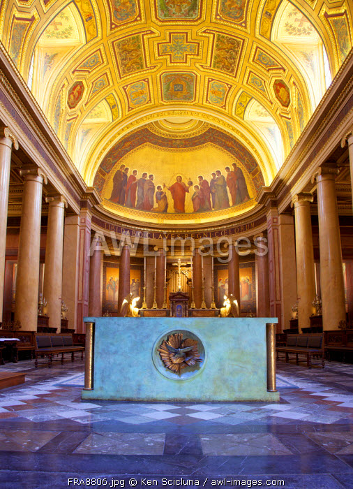 France, Brittany, Rennes. Altar with columns and ormaneted ceiling inside the Cathedral.