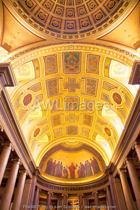 France, Brittany, Rennes. Ornamented mosaic ceiling in the Cathderal.