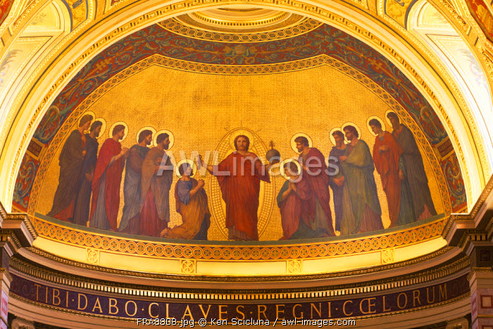 France, Brittany, Rennes. Mosaic of Christ surrounded with apostles in the Cathedral .