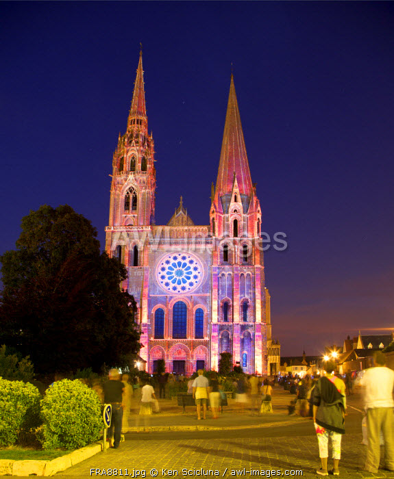 France, Eur et Loir, Chartres. Laser show on the Cathedral.