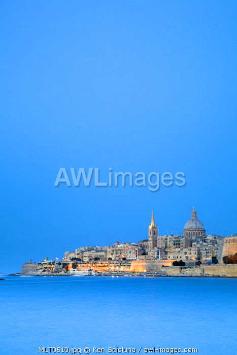 Europe, Maltese Islands, Malta. The capital of Valletta as seen from the sea.