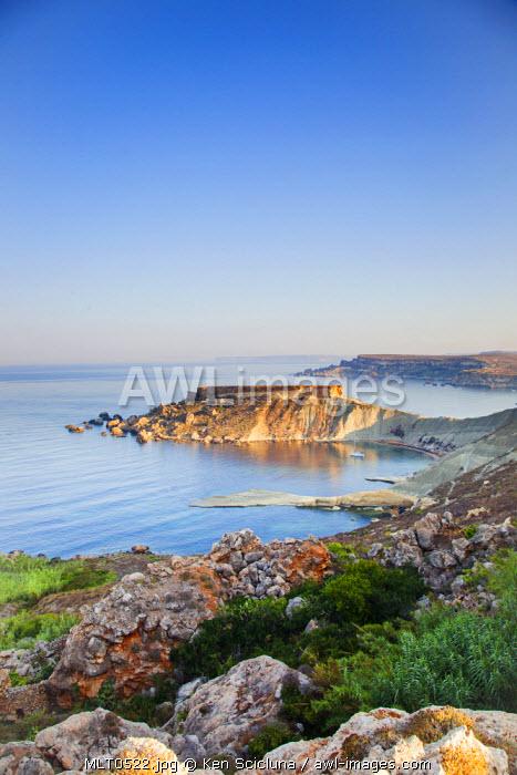 Europe, Maltese Islands, Malta. Dramatic Scenery of the northern cliffs.