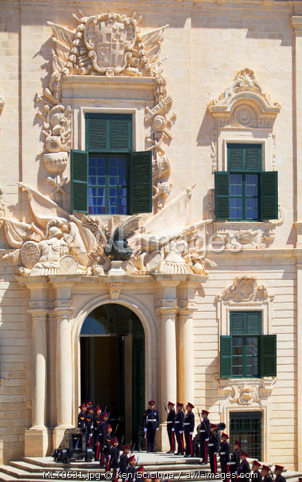 Europe, Maltese Islands, Malta. Armed forces in front of the former Auberge de Castille of the Knights of St.John now used as the Prime Minister s Office