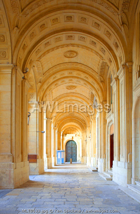 Europe, Maltese Islands, Malta. Arches in Victoria Square foremerly known as Piazza Regina in front of the National Library.