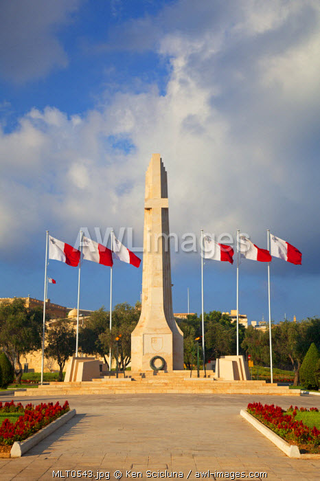 Europe, Maltese Islands, Malta. The War Memorial in Floriana surrounded with Maltese flags
