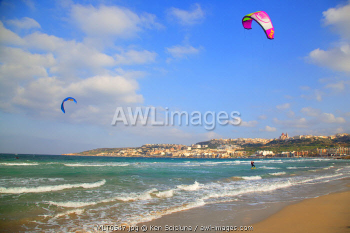 Southern Europe. Maltese Islands. Malta; Kite surfing at  Mellieha bay.
