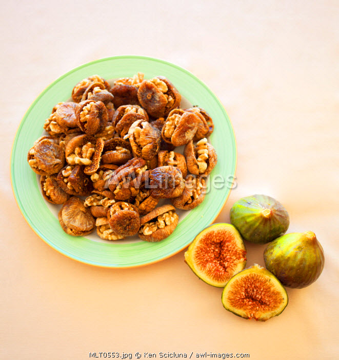 Mediterranean Europe. Maltese Islands. Malta. Traditional sweets from the islands figs stuffed with walnuts and fresh figs.