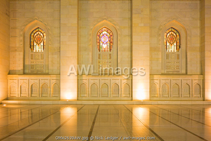 Oman. Muscat Governorate, Muscat, Sultan Taboos Mosque. Architectural detail of the main Prayer Hall.