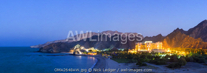 Oman. Muscat Governorate, Muscat. Elevated view of the Ritz Carlton Al Bustan Palace Hotel.