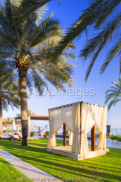Oman. Muscat Governorate, Muscat. The gardens at Al Bustan Palace Hotel.