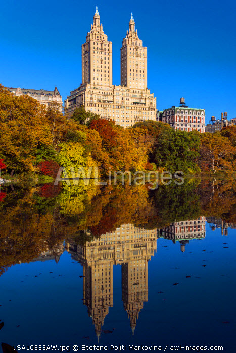 Fall foliage at Central Park with Upper West Side behind, Manhattan, New York, USA