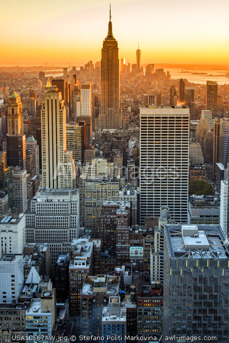 Midtown Manhattan skyline at sunset, New York, USA