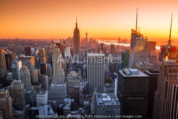 Midtown Manhattan skyline at sunset, New York, USA