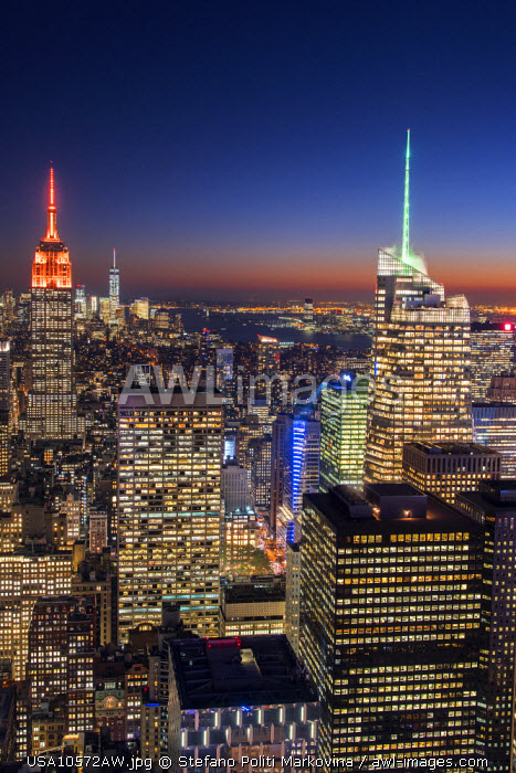 Midtown Manhattan skyline at night, New York, USA
