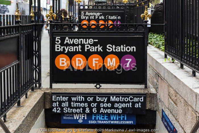 Entrance of Subway station, Manhattan, New York, USA