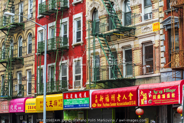 Colorful shop signs, Chinatown, Manhattan, New York, USA