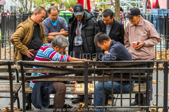 Playing Xiangqi or Chinese chess on a bench, Chinatown, Manhattan, New York, USA