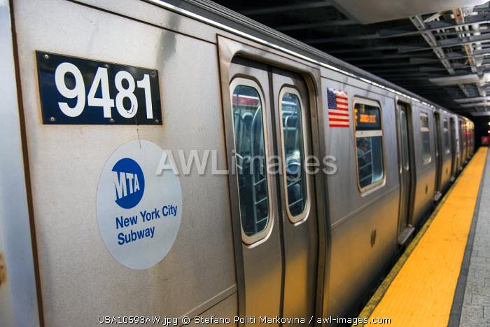 Subway train, Manhattan, New York, USA