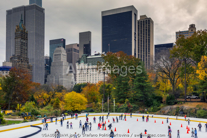 Wollman Rink with autumn colors, Central Park, Manhattan, New York, USA