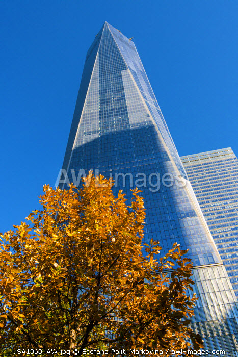 Low angle view of the One World Trade Center or Freedom Tower, Lower Manhattan, New York, USA