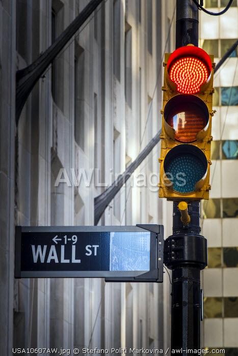 Wall Street sign, Lower Manhattan, New York, USA