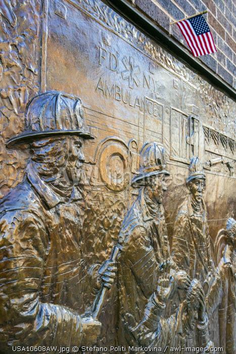 Bronze wall mural dedicated to the fallen firefighters of September 11, World Trade Center, Lower Manhattan, New York, USA