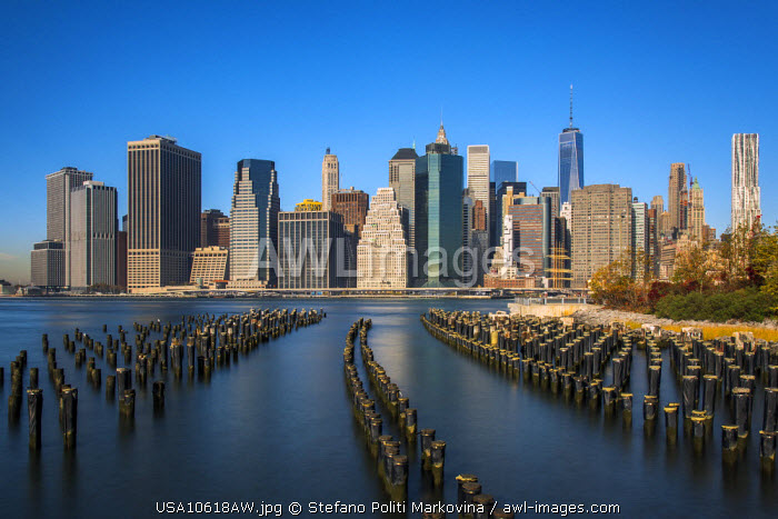 Lower Manhattan skyline from Brooklyn Bridge Park, Brooklyn, New York, USA