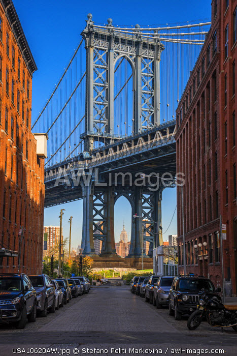 View toward Manhattan Bridge with the Empire State Building in the background, Brooklyn, New York, USA