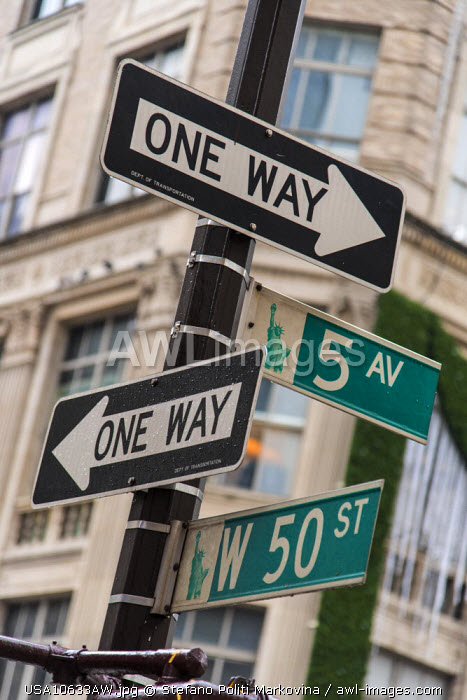One Way and Fifth Avenue signs, Manhattan, New York, USA