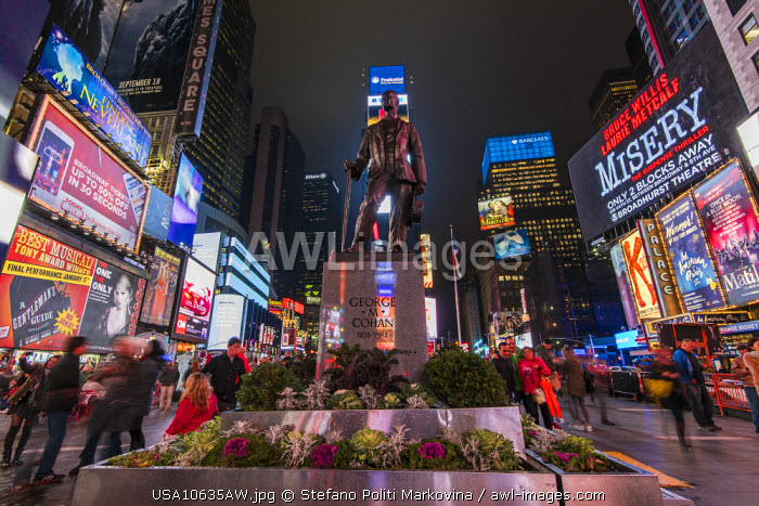 George Cohan's statue in Times Square, Manhattan, New York, USA