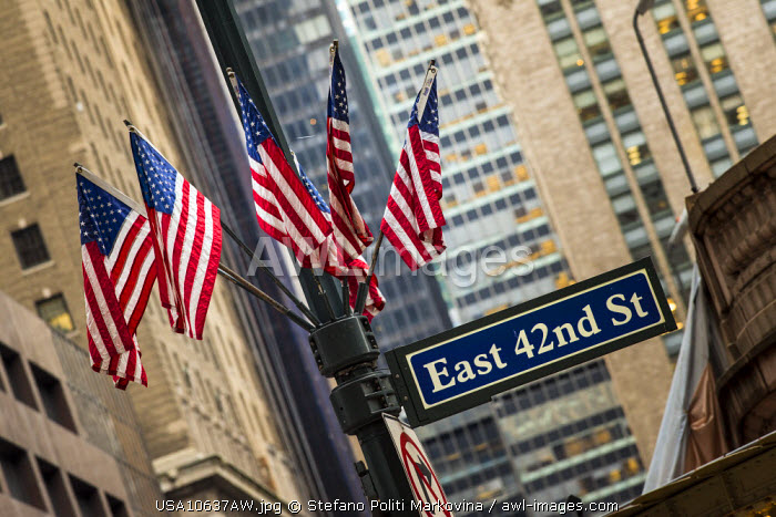 American flags, Manhattan, New York, USA