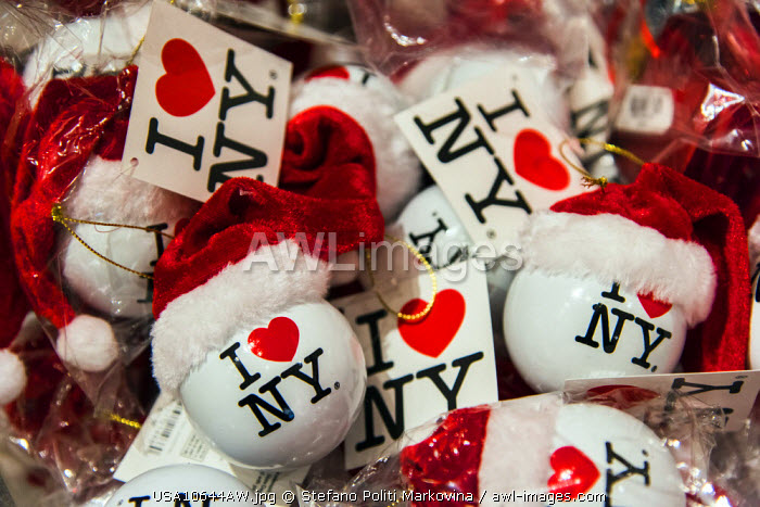 """I Love NY"" Ball Christmas ornament with Santa Hat on display at Macy�s department store, Manhattan, New York, USA"