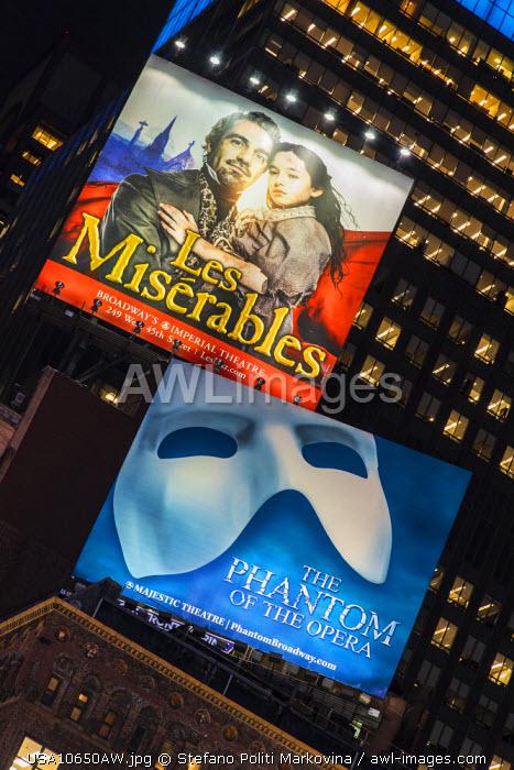 Musicals billboards, Theatre District, Broadway, Manhattan, New York, USA