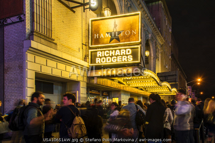 People queuing for tickets outside the Richard Rodgers Theater, Broadway Theater District, Manhattan, New York, USA