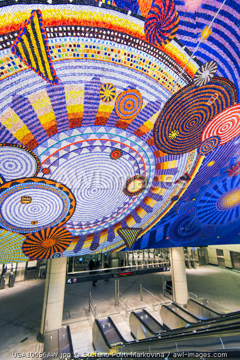 Colorful glass mosaic by artist Xenobia Bailey at the 34th Street - Hudson Yards subway station, Manhattan, New York, USA