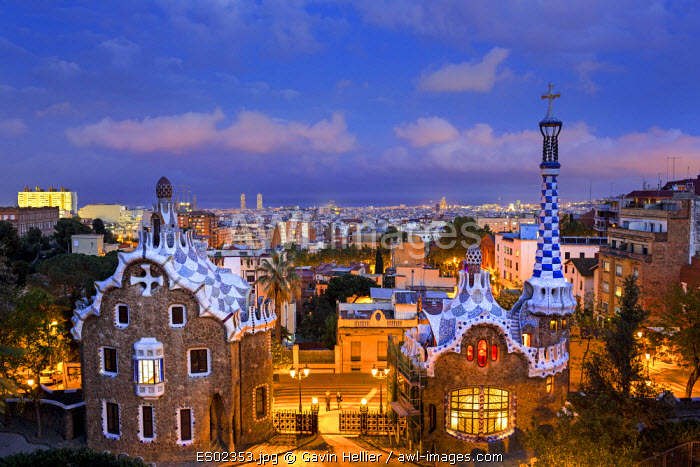 Spain, Catalonia, Barcelona, Park Guell, listed as World Heritage by UNESCO