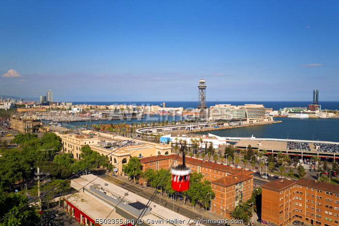 Elevated view over Port Vell - the old harbour district in Barcelona, Spain
